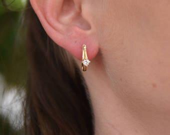 1/2 carat Gold Diamond Earrings-14K Yellow Gold Earrings-Omega Back Earrings-Women Jewelry-Women Earrings-