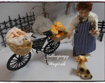 "1/12th dollhouse miniature ""Frost Fair"" Market  ""Butcher's Bike"" and Joey"
