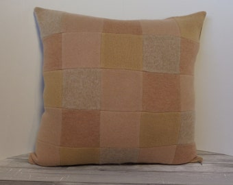 """Recycled wool sweater slipcover for 18"""" cushion -- camel"""