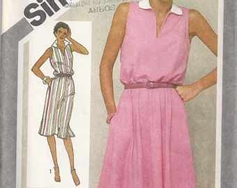 Pullover Dress With Slim Or Full Skirt Size 12 Bust 34 Stretch Knit Sundress Sewing Pattern 1981 Jiffy Simplicity 9897
