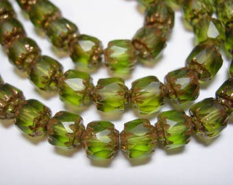 25 6mm Matte Olivine Green with Gold Firepolished Cathedral Czech Glass Beads
