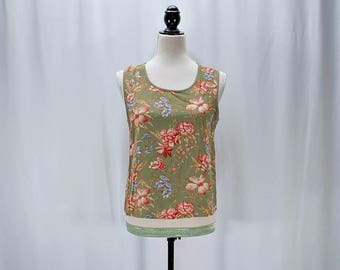 SALE ! Vintage 80s 90s floral Hawaiian tank top // S