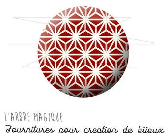 Cabochon fancy 25 mm Japan ref red geometric pattern 1578