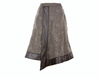 Women's wool skirt with faux leather, fully lined grey knee skirt with side pockets, size S-XXL