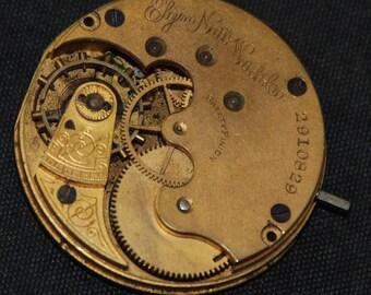 Gorgeous Vintage Antique Elgin Watch Pocket Watch Movement Porcelain face Steampunk QR 2
