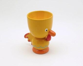 Vintage Wood Egg Cup Easter Decoration Egg Display Rooster