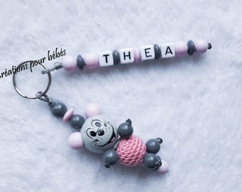 "Keychain 3D ""Mouse"" with wooden beads with the name of your choice"