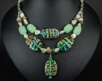 Mint breeze - a necklace of beads handmade