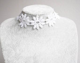 White floral 1 inch wide silver choker necklace / wedding gift / bridal / christmas gift