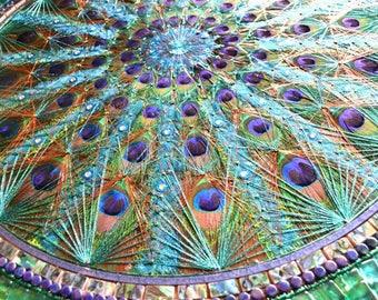 Peacock feather fan inlay, STRING ART, Glass & Paua shell, mosaic table, mosaic art