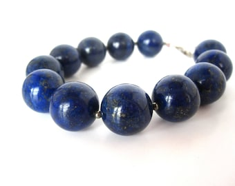 Lapis Bracelet, 14mm Lapis Bead Bracelet, Genuine Lapis Lazuli, Lapis Jewelry, Blue Lapis Bracelet, Pyrite Beads, Lapis Pyrite Bracelet