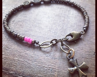 THREE HAIL MARY Bracelet for Breast Cancer Awareness