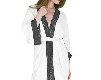 Jahrestag Geschenk Robe schwarz und weiß Gewand für ihre Sexy kurzen Robe Bio-Bambus Unterwäsche Sexy Geschenke für Frau
