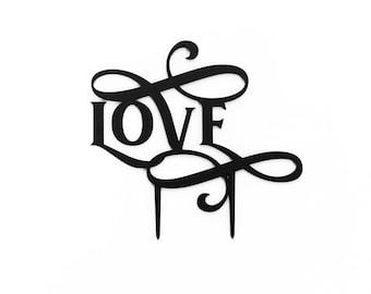 Love Scripted Flourish,  1 CT.,  Laser Cut Cake Topper, Weddings, Modern Wedding, Traditional Wedding