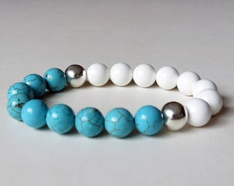 Howlite and white stone stretch bracelet with sterling silver rounds