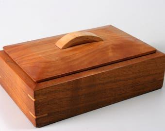 Wood Box | Cherry and Walnut | Keepsake | Jewelry | Valet Box