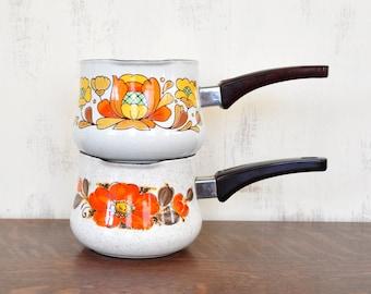 Vintage Enamel Saucepan with Spout; Orange Flower Design, Sankoware Japan