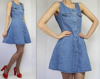 Vintage Denim Dress Denim Sarafan Dress Denim Mini Dress Mini Denim Dress Button up Denim Dress Sleeveless Denim Dress Small/Medium Size
