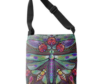 Dotted Dragonflies crossbody tote bag - printed tote - shopping, grocery bag - art nouveau inspired insects - dragonfly purse - ladybug bag