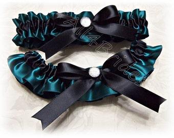 Wedding bridal leg garter belt set, black and teal garters set.