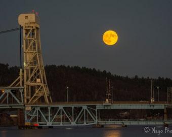 12x18 Metal Print, Super Moon rising over Portage Lake Lift Bridge, Houghton, MI, Fall, 2016