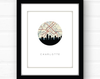 Charlotte, NC | Charlotte skyline art | Charlotte map print | North Carolina art | Charlotte poster | vintage map art | travel prints