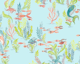 Mermaid Days - At the Bottom of the Sea in Light Blue by Cori Dantini for Blend Fabrics