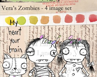 Quirky Zombie couple and cat with sentiment - digi stamp set