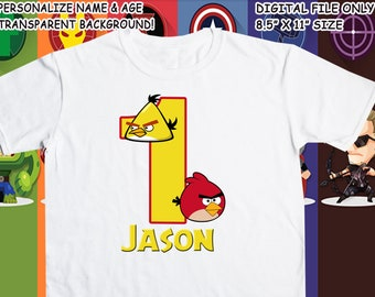 Angry Birds Printable Iron On Transfer - Custom Personalized T-Shirt Decal Design - Digital File - Personalize