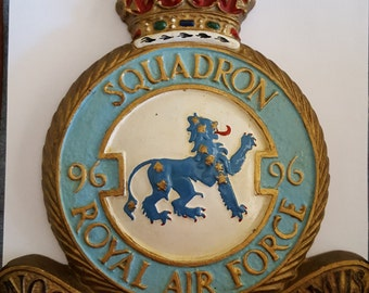 Vintage cast metal military crest Royal Air Force 96 Squadron by Rogarn, dates 1930's to 1950's