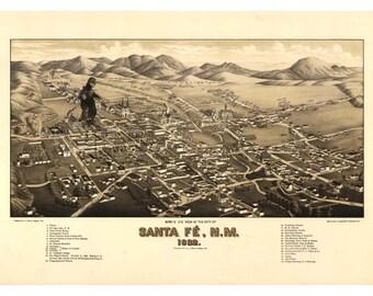 Digital Print, Santa Fe Art, monster art, kaiju, Santa Fe Map, geekery, kaiju print, alternate histories, new mexico art, santa fe nm
