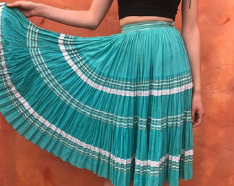 Vintage 1950s iered Patio Swing Skirt. Cotton. Aqua Turquoise White Silver. Metallic Trim. Circle Full sweep. pinup rockabilly xs small 24""