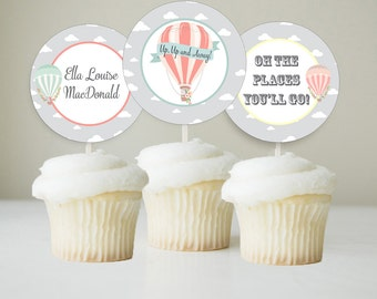 Hot Air Balloon Cupcake Toppers, Up Up and Away Cupcake Toppers, Hot Air Balloon Party Circles, Printable Cupcake Toppers, Personalized