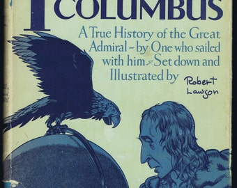 Antique Vintage I Discover Columbus Children's Book by Robert Lawson parrot Classic Illustrated