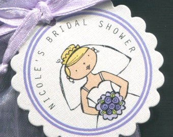 Bridal Shower Favor Tags - Bridal Shower Tags - Gift Tags - Wedding Tags - Round Tag - Personalized Tag - Bride - Purple - Set of 50
