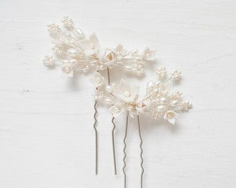 Floral Bridal Hair Pins, Bridal Hairpin, Bridal Hairpiece, Bridal Hair Accessory, Bridal Hairpins