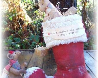 Primitive Folk art Santa's Boot  and Mice Doll E-pattern