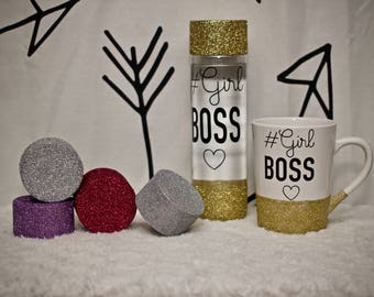 Glitter dipped girl boss bottle or mug