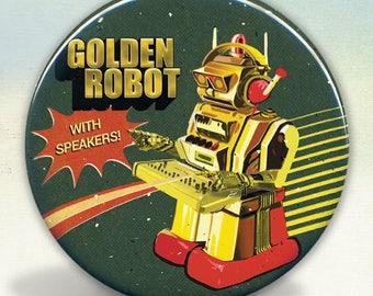 Golden Dj Robot Pocket Mirror Tartx