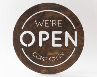 Open Sign, We're open, Laser Cut, Birch, Business Sign