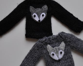 Sweaters Wolf for Blythe Pullip doll,outfits,blythe clothes, knitted clothes, blythe accesories, clothes for custom doll, gray black