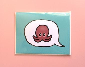 Emoji Cards! - Octopus - Teal Background