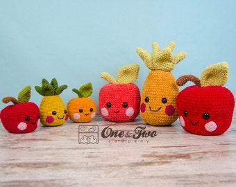 "Alice, Oliver and Perry the Fruit Friends ""Kawaii Friends Series"" Amigurumi - PDF Crochet Pattern - Instant Download - Amigurumi Cuddy Stuff"