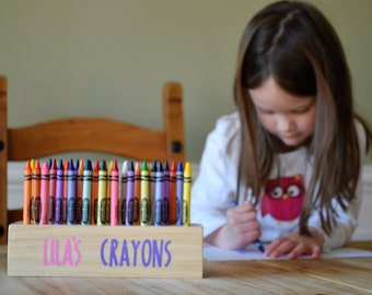 Personalized wooden crayon holder, Crayon organizer for kids, School Supplies, Vinyl lettering on high quality pine, Birthday present
