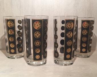 Vintage Mid-Century Gold Black Tumblers (Set of 4)