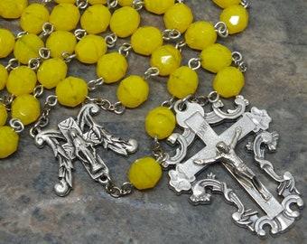 Glas-Rosenkranz in gelb Opal, 5 Gesätze Rosenkranz, katholischen Rosenkranz, Maria Rosenkranz, unsere Dame der Gnade, groß-Rosenkranz