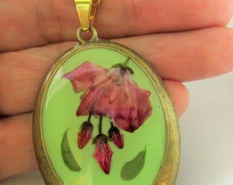 Pink Kalmia, Pressed Flower Pendant, Real Flowers,Pressed Flower Jewelry, Resin (3048)