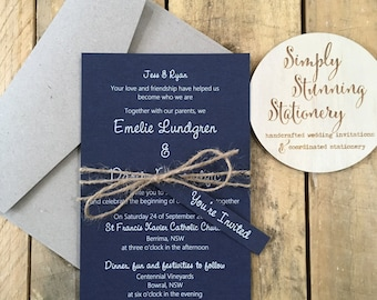 Navy Blue & White Rustic wedding invitations - SAMPLE