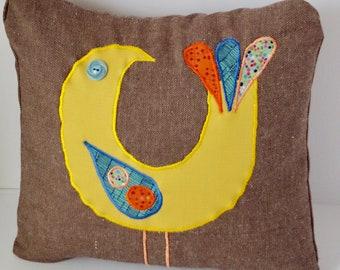 "Brown Pillow with Bird 12x12"""