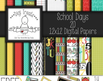 "30% OFF~ School Days + FREE GIFT Clip Art, digital scrapbook paper pack. 12""x12"" (jpeg) digital papers, backgrounds ***instant download***"
